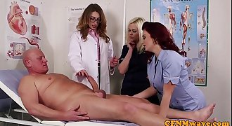 Female dom CFNM doctor sucking patients bigcock