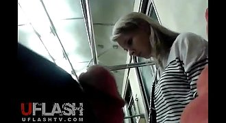 Flash Cum for Blonde Unexperienced Teen in Public Train