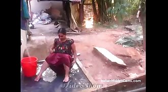 Desi Vilage Wife Open Bathing in Stripped to the waist Caught by Indian Hidden Cams