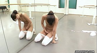 Asian ballerina has an itch she has to touch