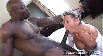 Old Granny takes a big black hard-on in her nuts Anal Interracial Video